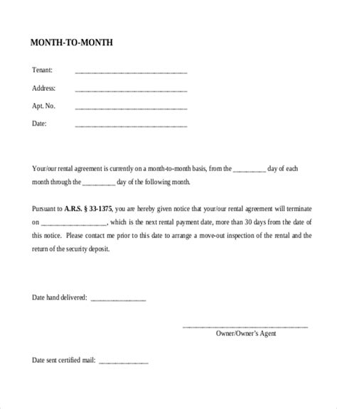 month to month rental agreement form sle month to month lease agreement form 8 free