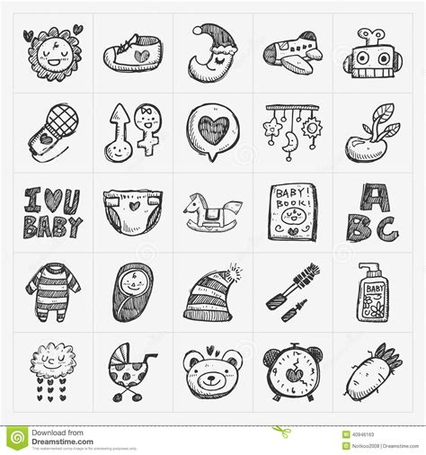 doodle baby free doodle baby icon sets stock vector illustration of baby