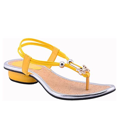 yellow sandals fabme yellow sandals price in india buy fabme yellow