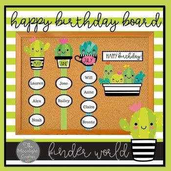 sweet succulents birthday bulletin board set tpt