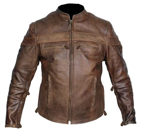 brown motorcycle jacket mens retro brown top grain buffalo hide cafe leather racer