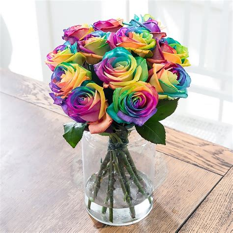 Bloom Box Rainbow Unique Multicolor Preserved Flower Rainbow Roses Rainbow Bouquets Blossoming Gifts