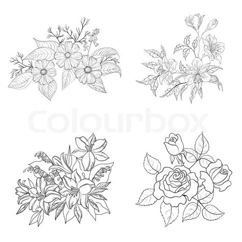 flower tattoo outline designs cultivated flowers outline set stock photo colourbox