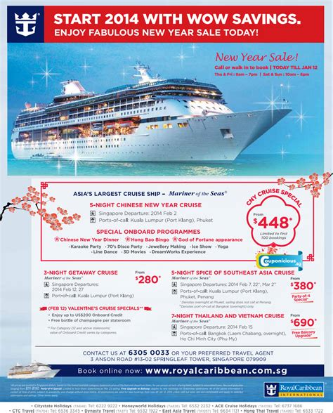 Royal Caribbean   CNY cruise special at $448 (limited to