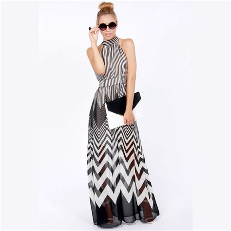 black and white pattern halter neck xs xxl new wave stripe of perspectivity patchwork long