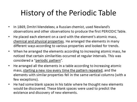 history of the periodic table do now define an element ppt