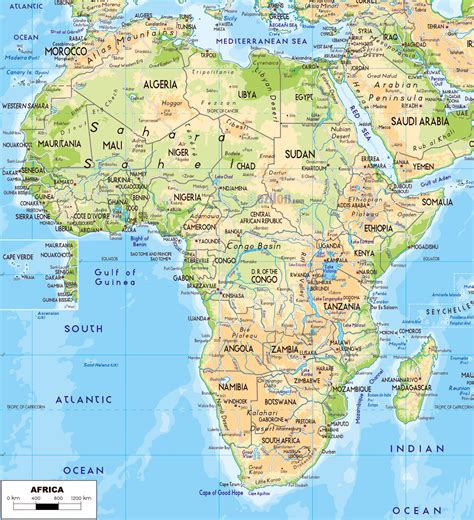 physical map of large detailed physical map of africa with roads and