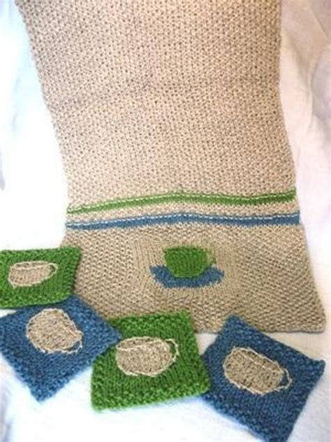 knitted tea towel pattern tea towel with coasters knitting pattern by eclecticitee