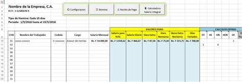 formato para control de pagos formato nomina control recibo de pago lottt excel bs