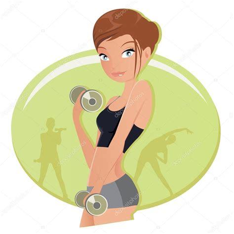 imagenes animadas gym ilustraci 243 n de una mujer fitness ejercicio con pesas en el