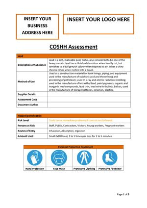 download coshh assessment template working with lead
