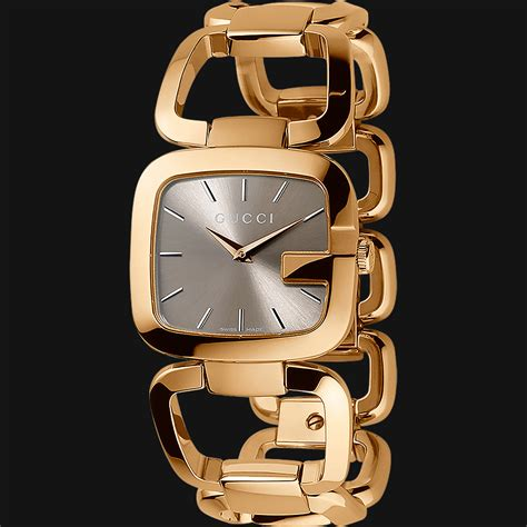 Gucci G80861a Combi Gold new authentic gucci g gold tone pvd s steel bracelet brown ya125408 ebay