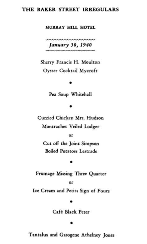 entertainment  fantasy   dinner published originally    baker street