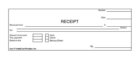 printable check receipt three identical horizontal cash receipts print out per