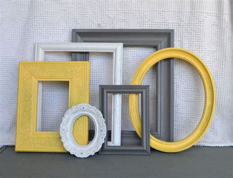 yellow and grey home decor picture frames by yellow grey white frames set of 6 upcycled frames