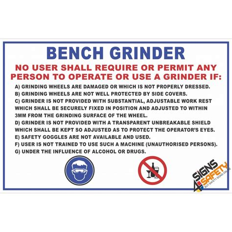 Fm1 Bench Grinder Safety Rules Sign Signs4safety