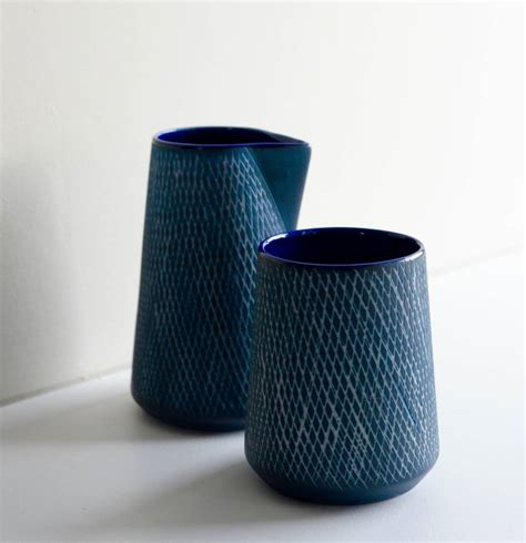 inky blue ceramic inky blue etched tumbler or jug by the forest co