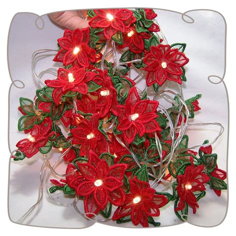 Organza 3d Poinsettia String Lights Machine Embroidery Design Poinsettia String Lights