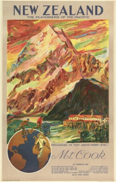 mt cook vintage poster playground   pacific