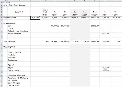 Daily Spreadsheet by Daily Flow Spreadsheet Organized Bookkeeping