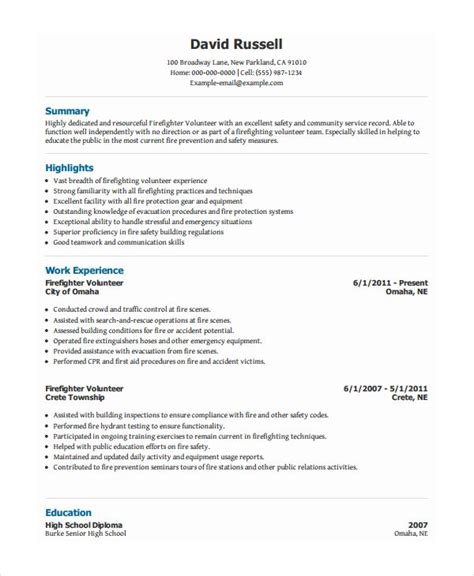 exle of volunteer work on resume volunteer firefighter resume resume templates