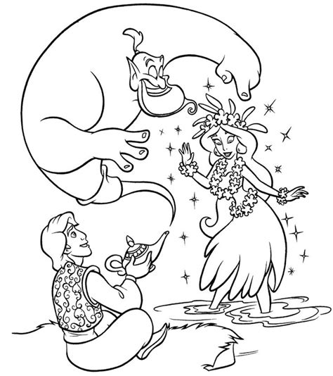 disney genie coloring page aladdin and genie coloring page aladdin pinterest