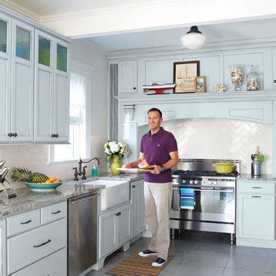 fresh flair use cool blue to update a classic kitchen