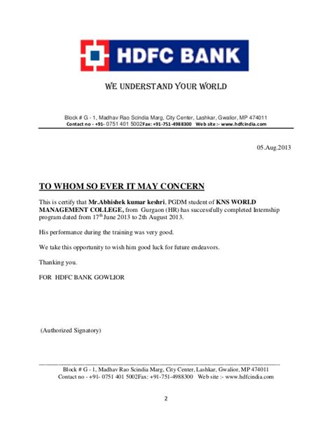 authorization letter format for hdfc bank hdfc bank project report
