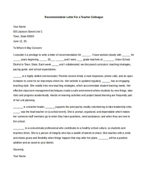 Reference Letter Format For Colleague Sle Recommendation Letter 8 Free Documents In Pdf Doc