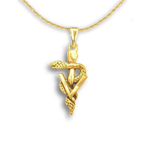 gold veterinary caduceus pendant gold vet jewelry gifts