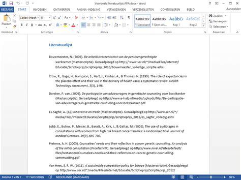 artikel schrijven layout literatuurlijst volgens de apa regels