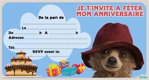 Invitation Anniversaire Paddington 123 Cartes