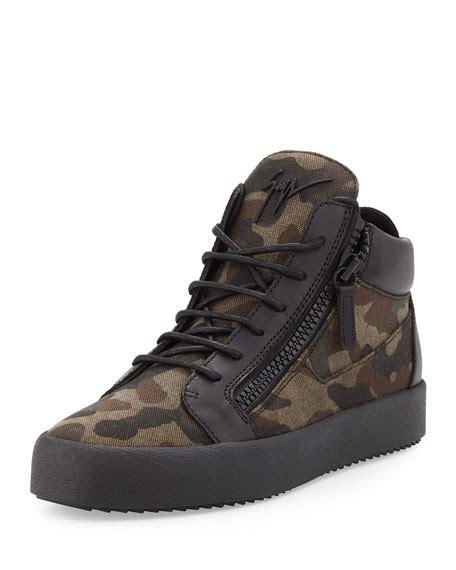 mens camo sneakers giuseppe zanotti s camo print canvas mid top sneaker