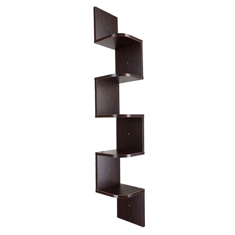 Wall Corner Rack by 5 Tier Wall Mount Corner Shelf Storage Unit Shelves Wood Home Display Colour Opt Ebay