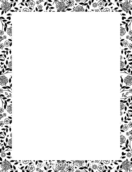 black or white testo printable black and white flower border use the border in