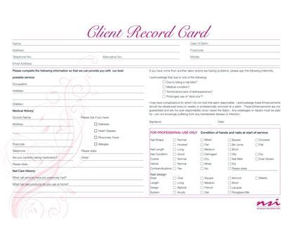 client record cards template client record cards nail room ideas salon