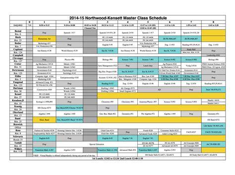 master schedule template calendar template 2016