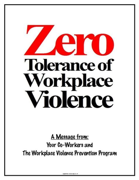 Eaposters Workplace Violence Prevention Posters Zero Tolerance Policy In The Workplace Template