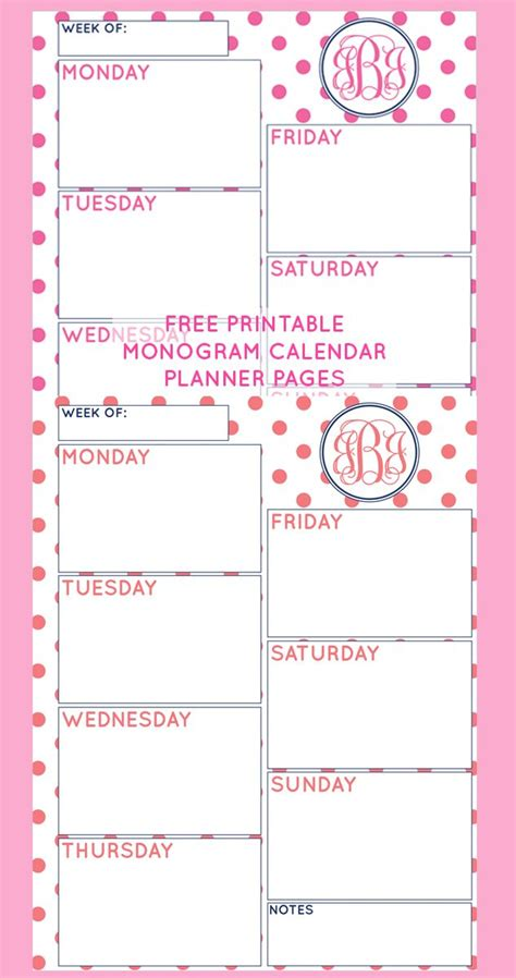 Couples Planner Calendar Free Printable Monogram Weekly Calendar Planner Pages From