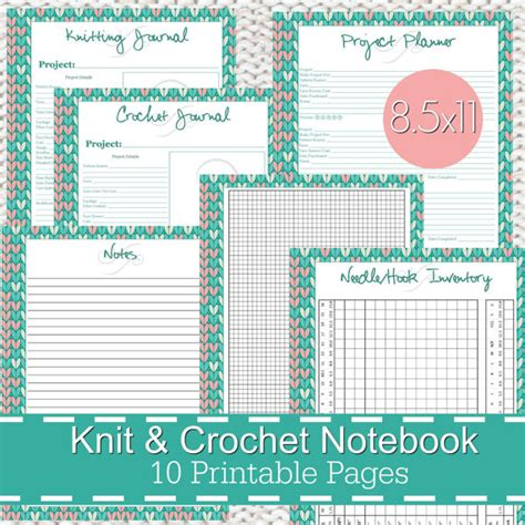 printable knitting journal knitting crochet planner notebook journal printables pdf