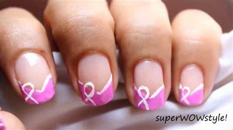 nail art ribbon design tutorial breast cancer nails art designs easy awareness ribbon