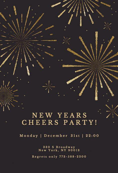 golden fireworks year invitation template