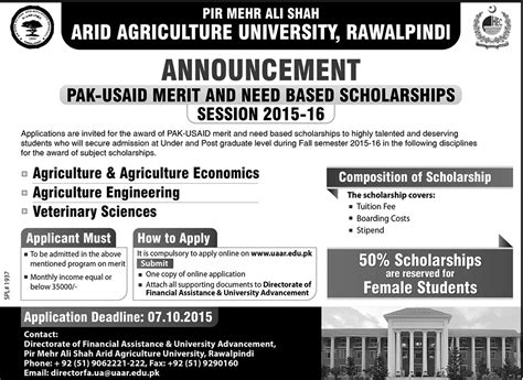 Arid Agriculture Fee Structure Mba by Arid Rawalpindi Pak Usaid Merit And Need Based