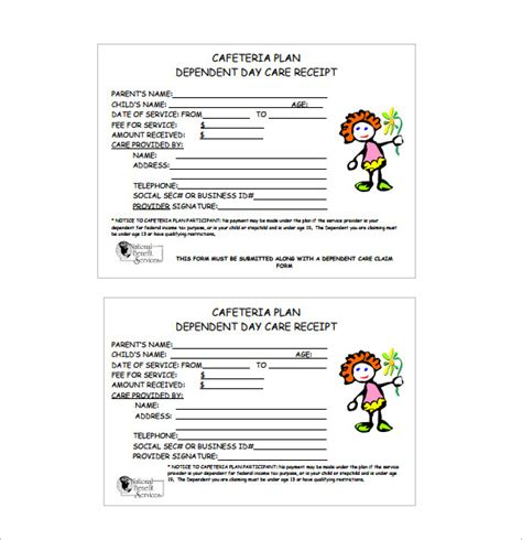 receipt for child care services template receipt template doc for word documents in different types