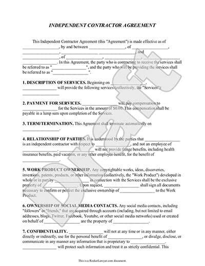 Independent Contractor Agreement Freelance Contract Template Independent Consultant Contract Template