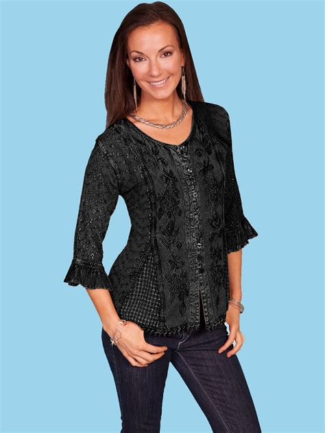 Wst 14197 Black Embroidered Blouse scully 174 s copper embroidered 3 4 sleeve western blouse
