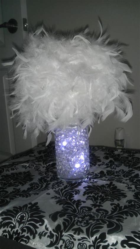 My Diy Feather Centerpiece Weddingbee Photo Gallery Feather For Centerpieces