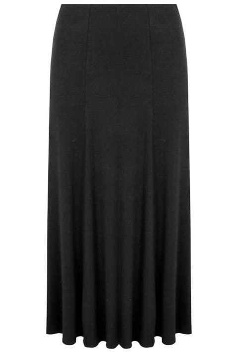 Black Jersey Maxi Skirt, Plus size 16 to 36