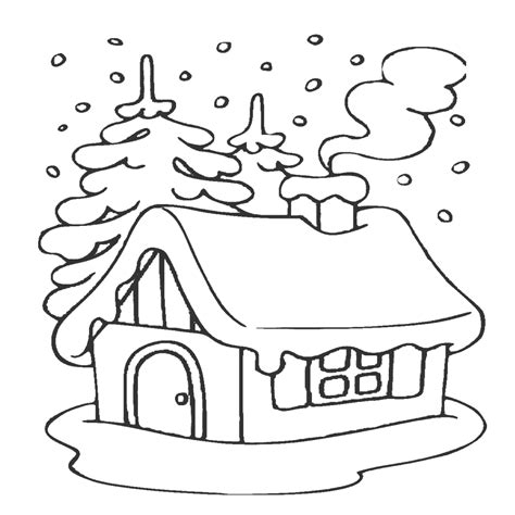 imagenes para colorear winter dibujo de casita nevada de navidad para imprimir y