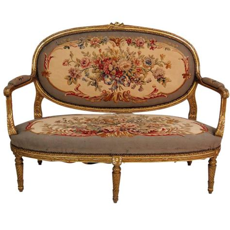 louis xvi settee louis xvi style gilt carved aubusson settee for sale at